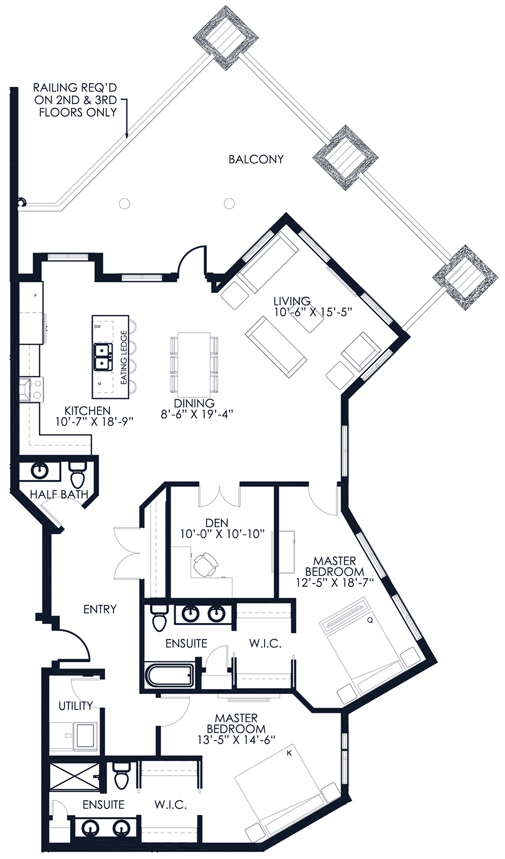 Unit A114-214-314 floor plan
