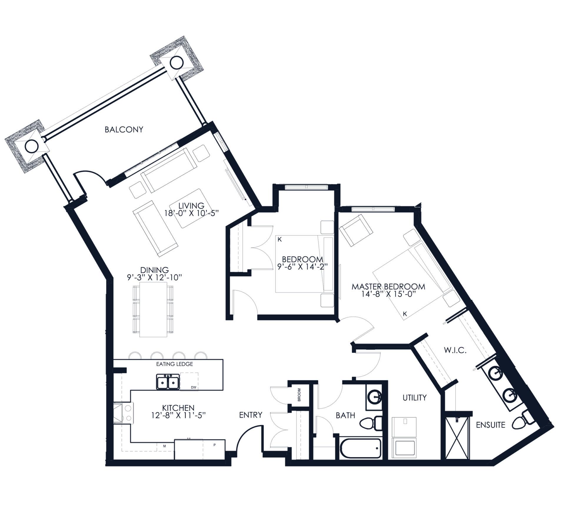 Unit A112-212-213 floor plan