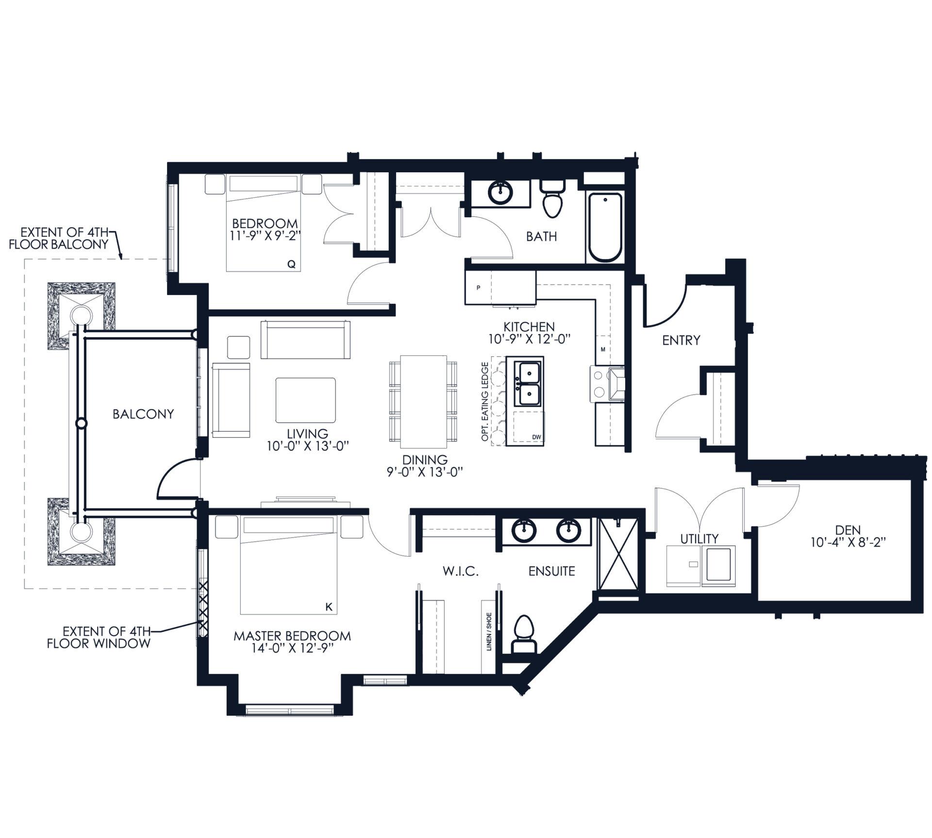 Unit F104 floor plan